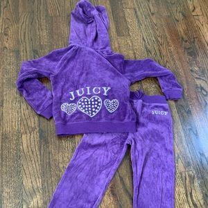 Girls Juicy Sweatsuit - Purple - Size 4